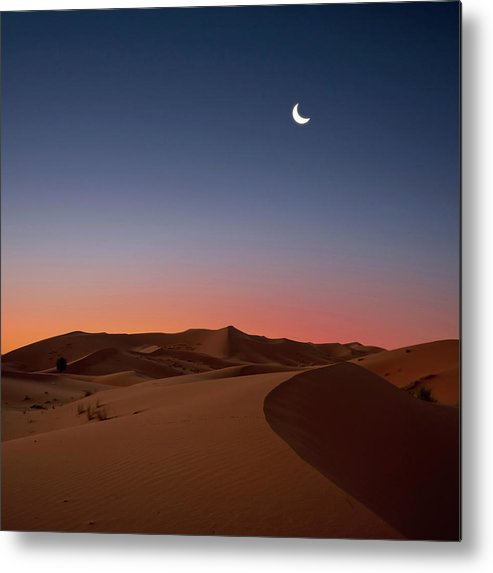 Square Metal Print featuring the photograph Crescent Moon Over Dunes by Photo by John Quintero