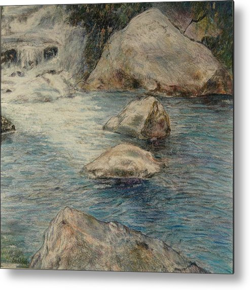 Colored Pencil Metal Print featuring the drawing Crivitz Creek by Lois Guthridge