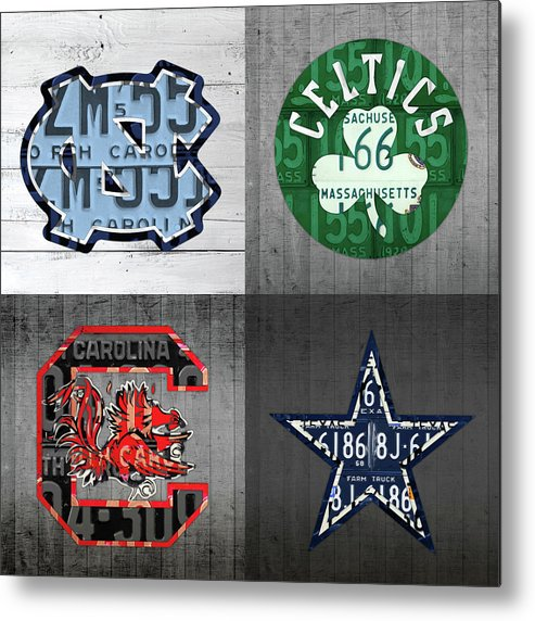 Unc Metal Print featuring the mixed media Custom 4 Team License Plates Sport Art No 1 by Design Turnpike