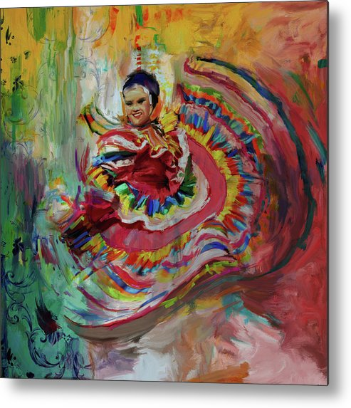 Mexican Dancer Metal Print featuring the painting Dancer 266 1 by Mawra Tahreem