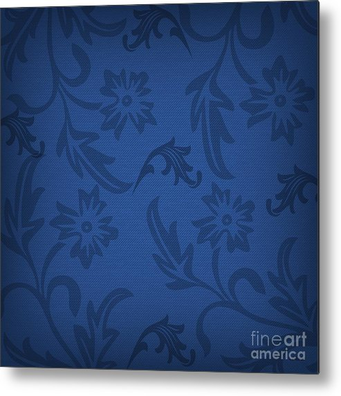 Blue Metal Print featuring the digital art Dark Blue Floral by Sharon Johnston