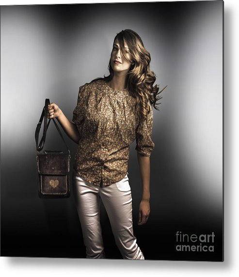 Accessories Metal Print featuring the photograph Dark Fashion Style With Fashionable Bag Accessory by Jorgo Photography - Wall Art Gallery