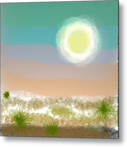 Sky.moon.desert.rest.silence.sand.prickles.moonlight. Metal Print featuring the digital art Desert.night.moon by Dr Loifer Vladimir