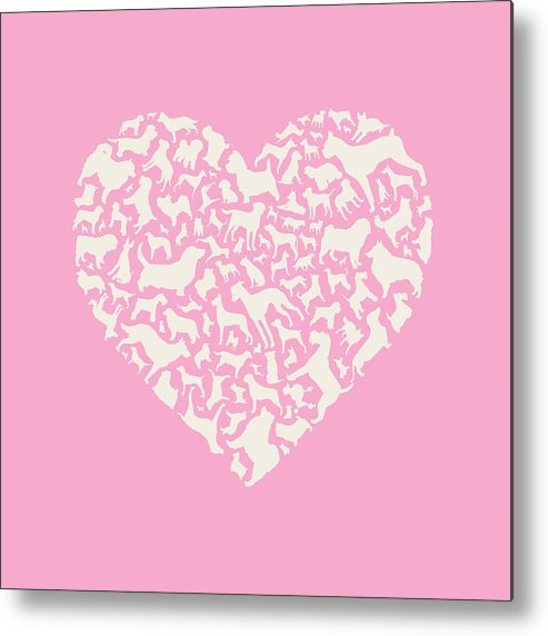 Dog Metal Print featuring the painting Dog Valentine by Mitch Frey
