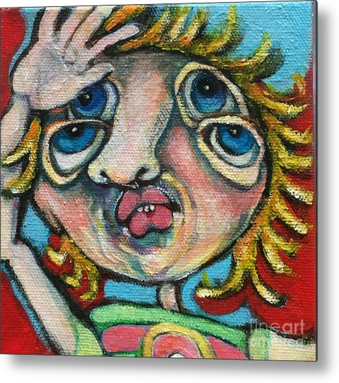 Ircle Head Art Metal Print featuring the painting Double Vision by Michelle Spiziri