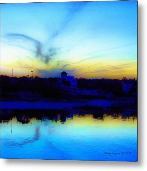 Dreamscape Metal Print featuring the photograph Dreamscape Blue Water Sunset by Nada Frazier