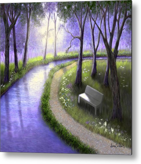 Park Metal Print featuring the painting Early Morning In The Park by Sena Wilson