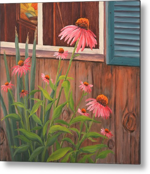 Echinacea Metal Print featuring the painting Echinacea Flower by Elaine Farmer