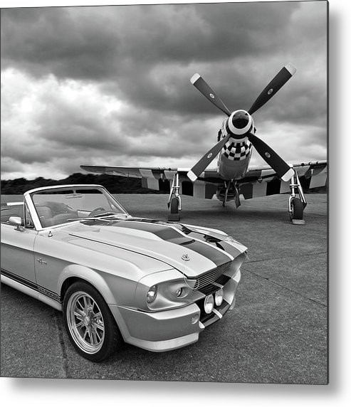 Old Ford Mustang Metal Print featuring the photograph Eleanor Mustang With P51 Black And White by Gill Billington