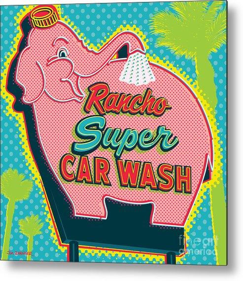 Pop Art Metal Print featuring the digital art Elephant Car Wash - Rancho Mirage - Palm Springs by Jim Zahniser
