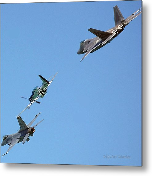 Jets Metal Print featuring the digital art Encore Fly-over by DigiArt Diaries by Vicky B Fuller