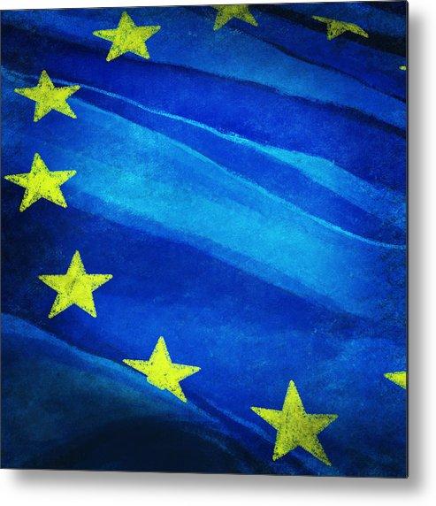 Background Metal Print featuring the painting European Flag by Setsiri Silapasuwanchai