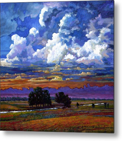 Landscape Metal Print featuring the painting Evening Clouds Over The Prairie by John Lautermilch