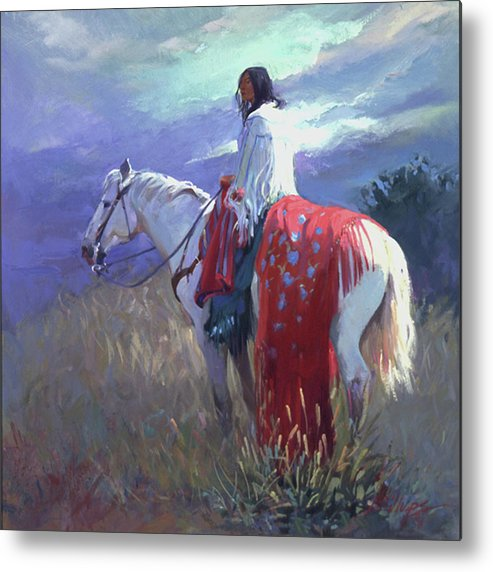 Native American Metal Print featuring the digital art Evening Solitude L. E. P. by Betty Jean Billups