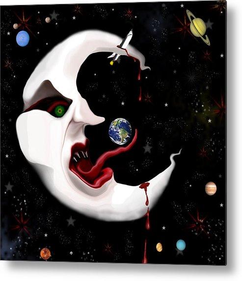 Moon Metal Print featuring the digital art Evil Moon by Ruben Flanagan