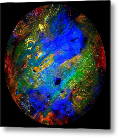 Gemstones Metal Print featuring the painting Evolution Series 1005-round by Dina Sierra
