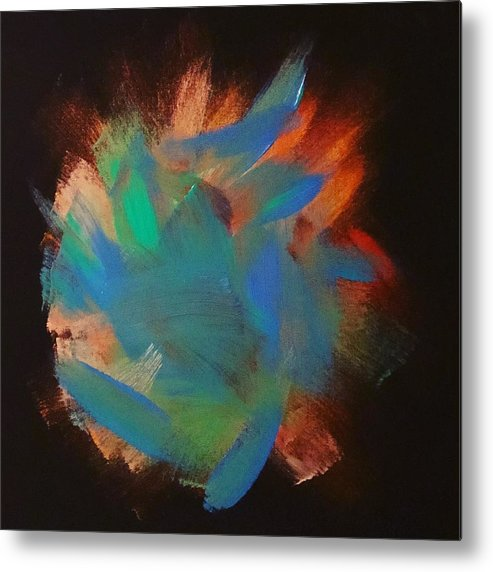 Gold Metal Print featuring the painting Explosion by Marcus Mabry
