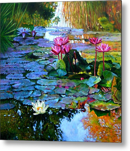 Landscape Metal Print featuring the painting Expressions From The Garden by John Lautermilch
