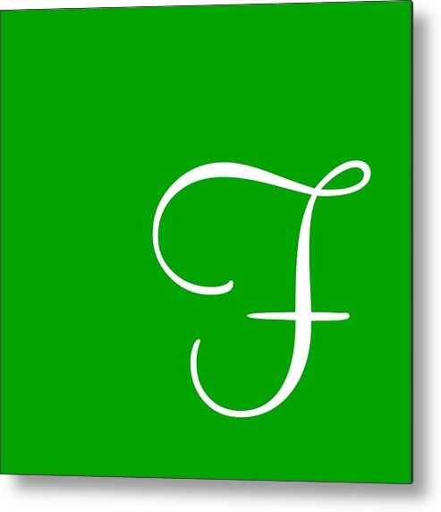 F Metal Print featuring the digital art F In White Simple Script by Custom Home Fashions