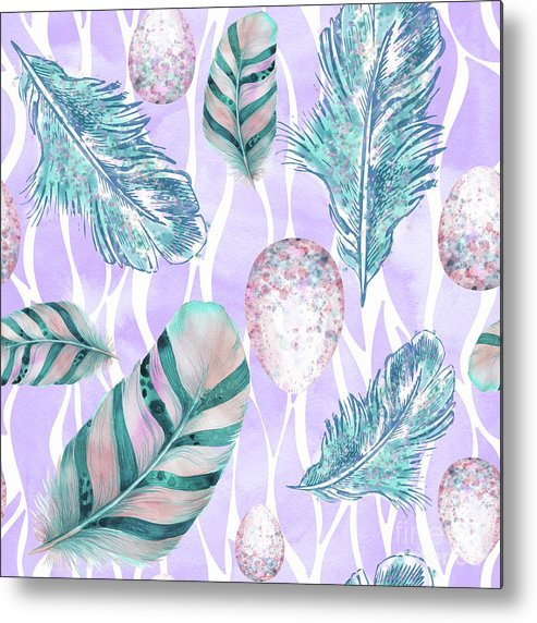 Feathers Metal Print featuring the painting Feathers And Spotted Bird Eggs Woodland Nature Pattern by Tina Lavoie