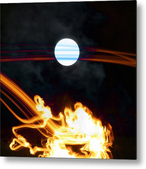 Moon Metal Print featuring the digital art Fire Moon Abstract Moonlit Night by Jane McDougall