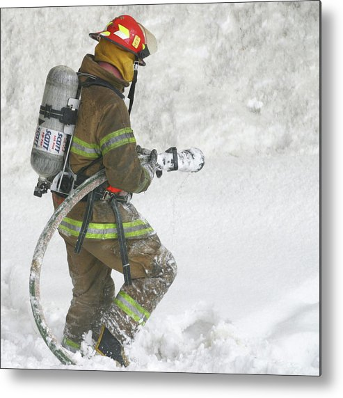 Square Metal Print featuring the photograph Firefighter In The Snow by Jack Dagley