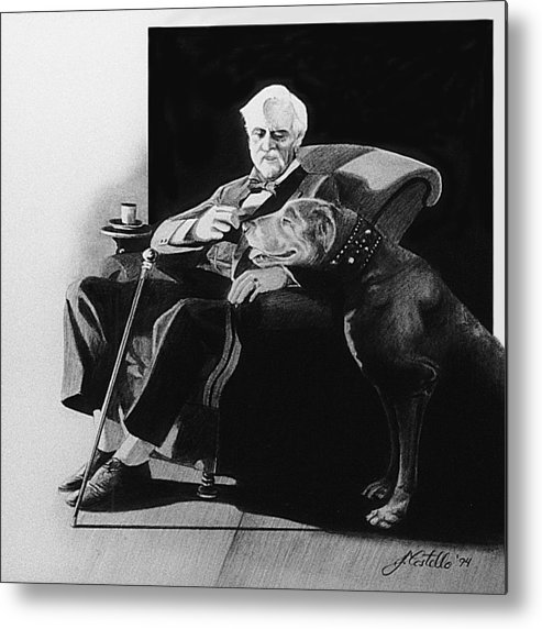 Man And Dog Metal Print featuring the drawing Fireside by Joe Costello