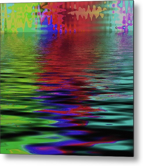 Multicolored Metal Print featuring the digital art Fireworks Abstract by Bonnie Bruno