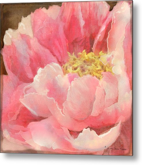 Peony Metal Print featuring the painting Fleeting Glory - Peony by Audrey Jeanne Roberts