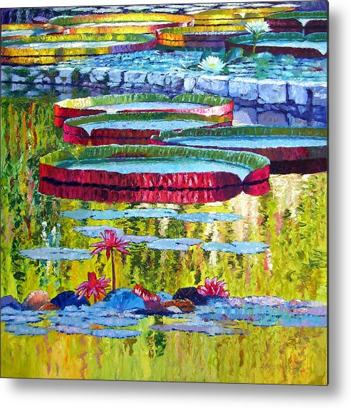 Lily Pond Metal Print featuring the painting Floating Parallel Universes by John Lautermilch