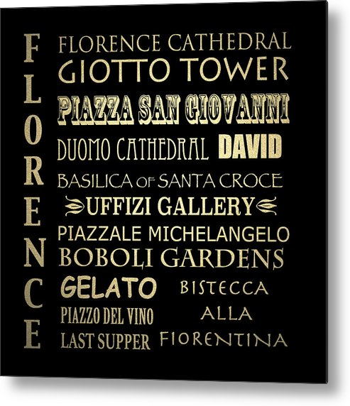 Florence Framed Art Metal Print featuring the digital art Florence Italy Famous Landmarks by Patricia Lintner