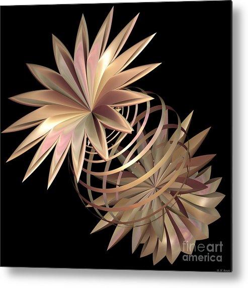 Fractal Metal Print featuring the digital art Flowers In Pink by Deborah Benoit