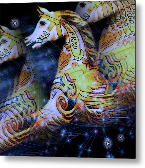 Fred Fantasy Flight Carousel Horse Dream Sequence Stars Light Shadow Night Susan Epps Oliver Metal Print featuring the mixed media Fred by Susan Epps Oliver