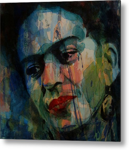Frida Kahlo Metal Print featuring the painting Frida Kahlo Colourful Icon by Paul Lovering