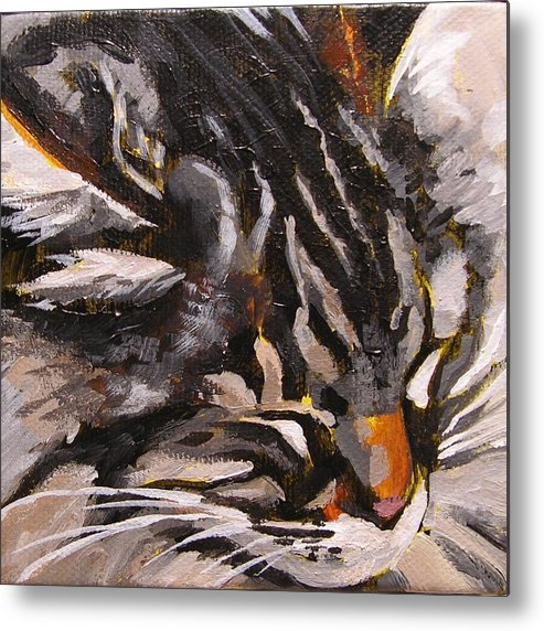 Cat Metal Print featuring the painting Friday Asleep by Mary McInnis