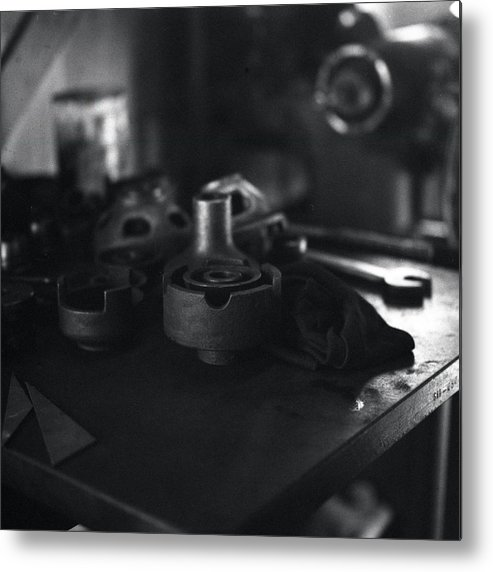 Black And White Metal Print featuring the photograph Garage Tools And Parts by George Ferrell