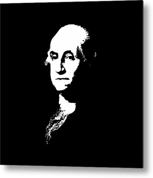 George Washington Metal Print featuring the digital art George Washington Black And White by War Is Hell Store