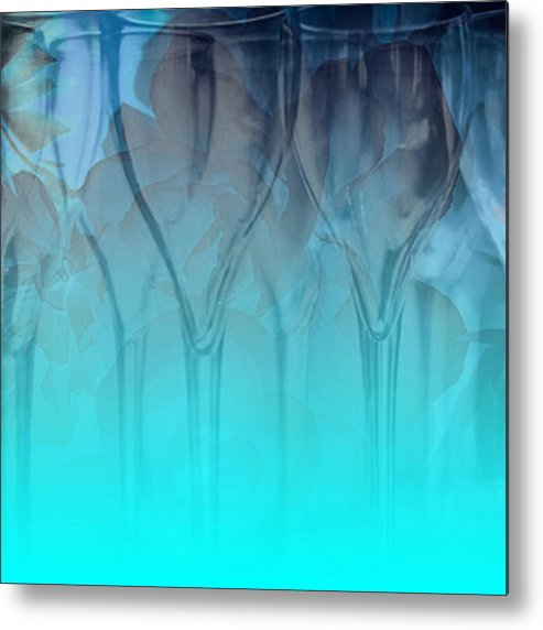 Glasses Metal Print featuring the digital art Glasses Floating by Allison Ashton
