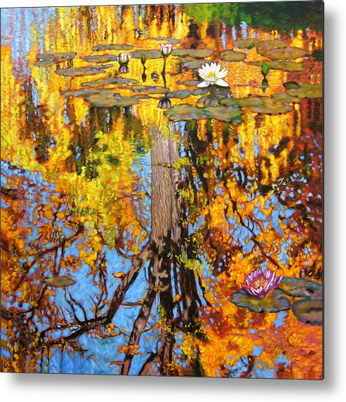 Landscape Metal Print featuring the painting Golden Reflections On Lily Pond by John Lautermilch