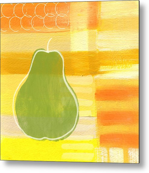 Pear Metal Print featuring the painting Green Pear- Art By Linda Woods by Linda Woods
