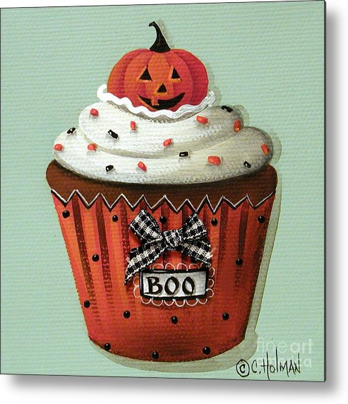 Art Metal Print featuring the painting Halloween Pumpkin Cupcake by Catherine Holman