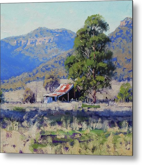 Nature Metal Print featuring the painting Hartley Farm Shed by Graham Gercken
