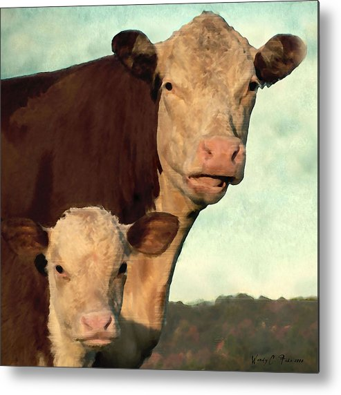 Cows Metal Print featuring the photograph Hay by Wendy Fike