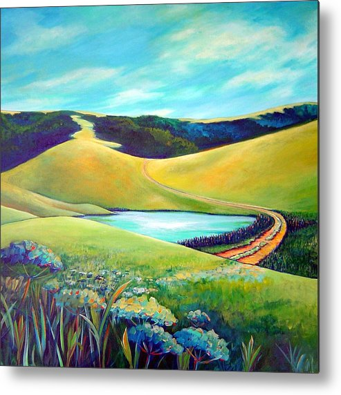 California Metal Print featuring the painting Hidden Pond by Stephanie Maclean