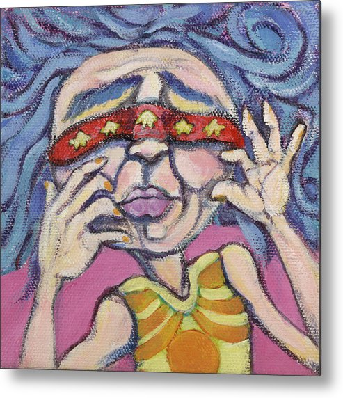 Original Painting Metal Print featuring the painting Hide And Seek by Michelle Spiziri
