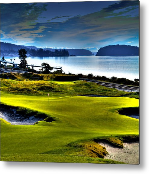 Hole #17 At Chambers Bay Metal Print featuring the photograph Hole #17 At Chambers Bay by David Patterson