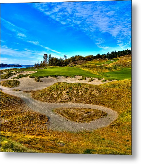 Hole #3 At Chambers Bay Metal Print featuring the photograph Hole #3 At Chambers Bay by David Patterson