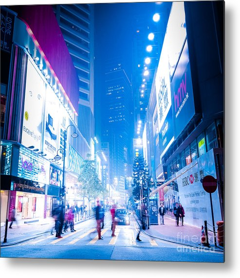 Hong Kong Metal Print featuring the photograph Hong Kong Night Street by Perfect Lazybones