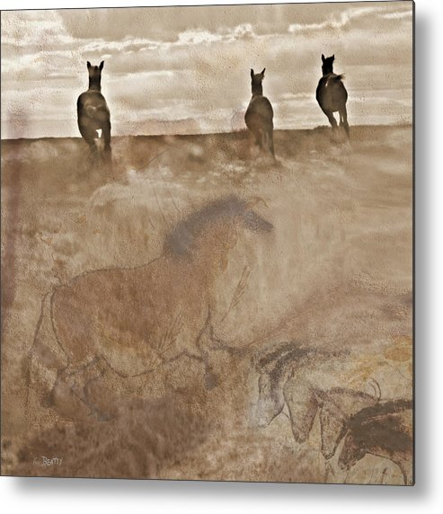 Horses Metal Print featuring the photograph Horses Run With Us Collage by Karla Beatty