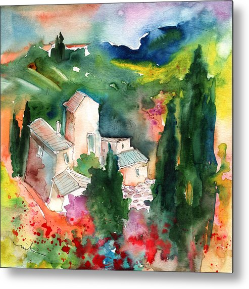 Landscapes Metal Print featuring the painting Houses In Montepulciano In Tuscany 01 by Miki De Goodaboom